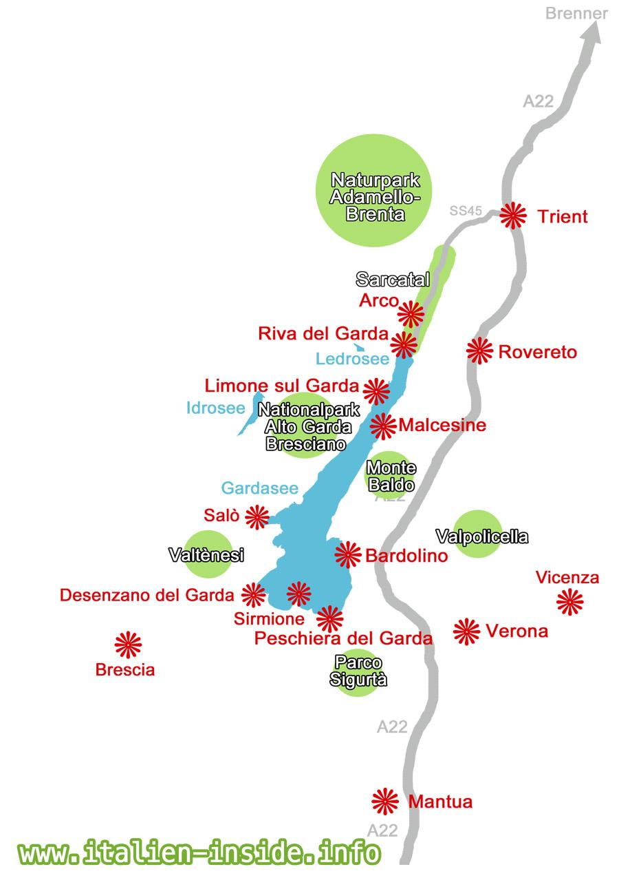 gardasee rovereto karte Gardasee | .italien inside.info