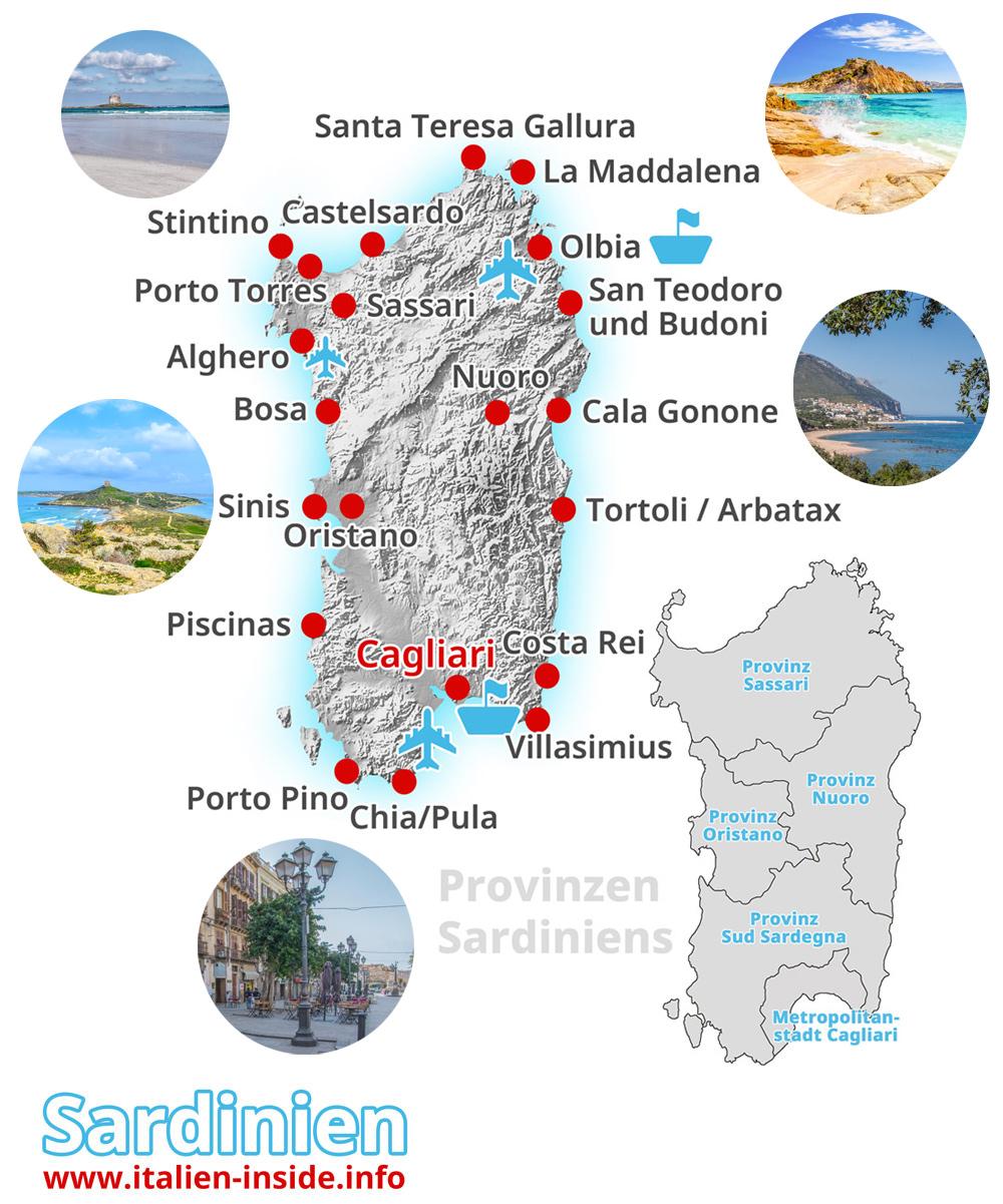 Sardinien   Mit Karte Sardinien   italien inside.info