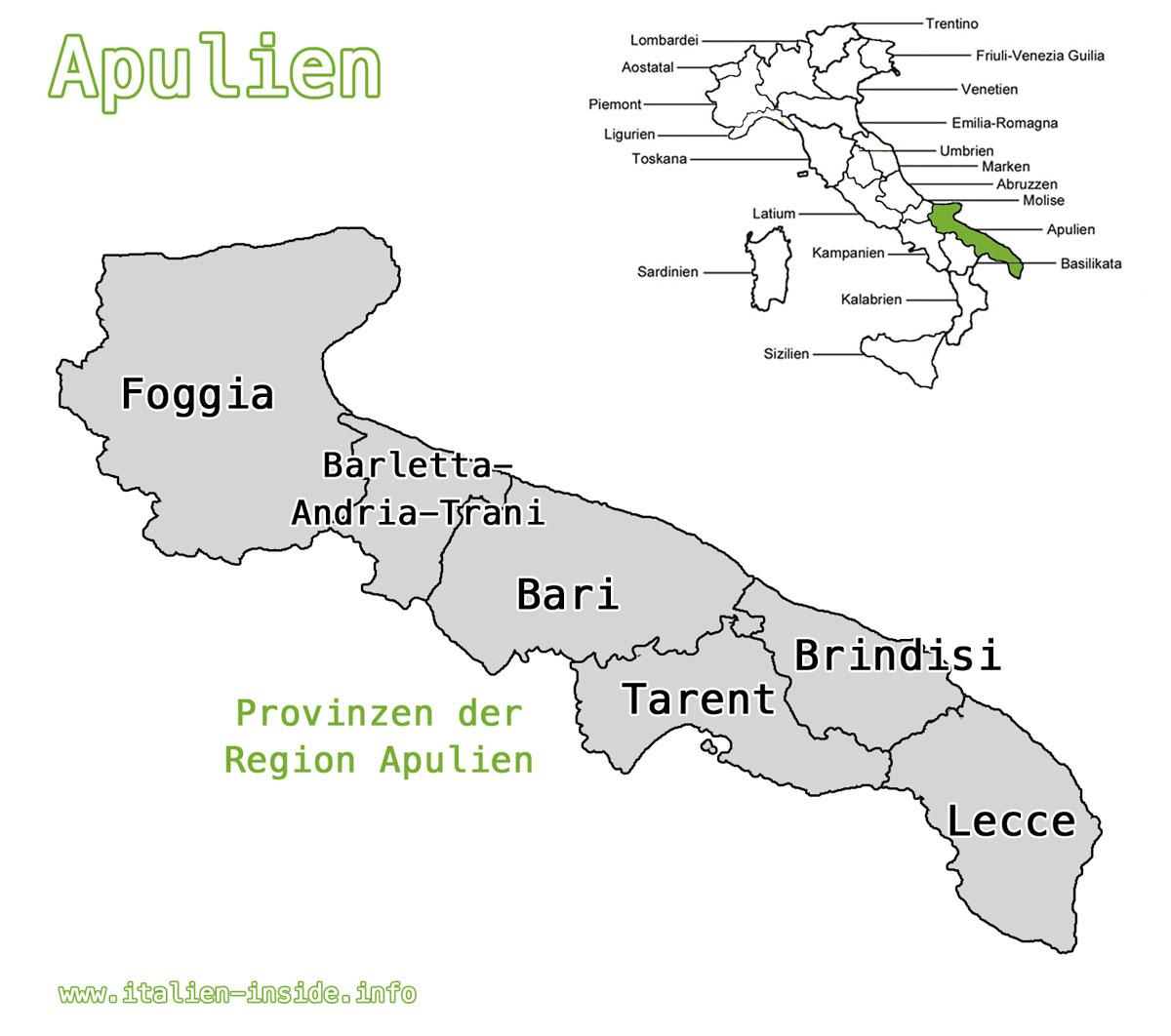 Karte-Apulien-Provinzen