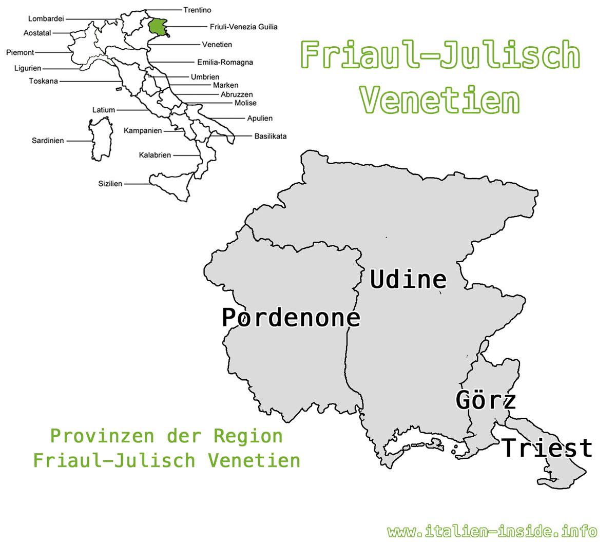 Karte-Friaul-Julisch-Venetien-Provinzen