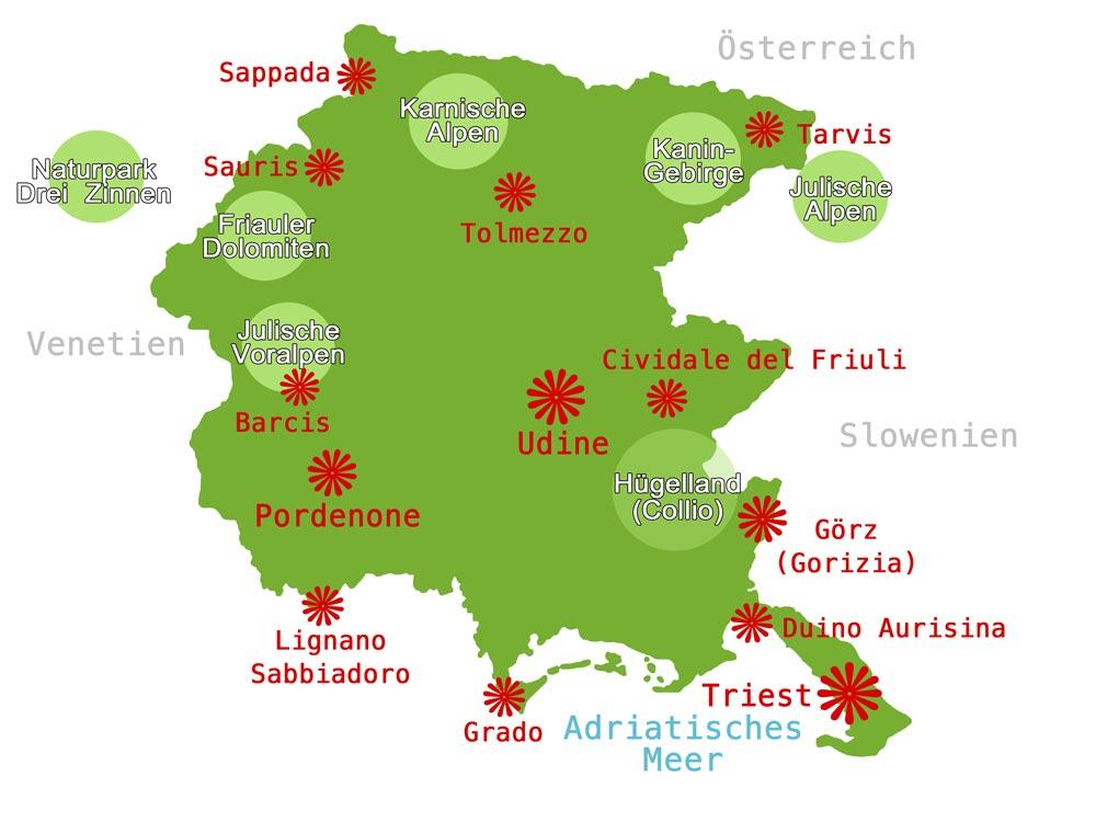 Karte Friaul Julisch Venetien Www Italien Inside Info