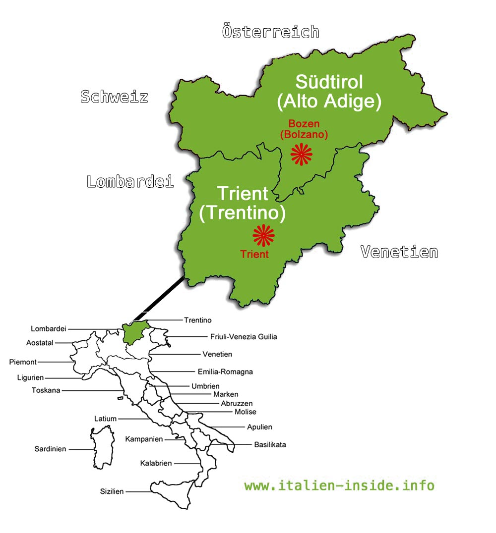 karte italien süd Trentino Südtirol und Karte Trentino Südtirol   italien inside.info