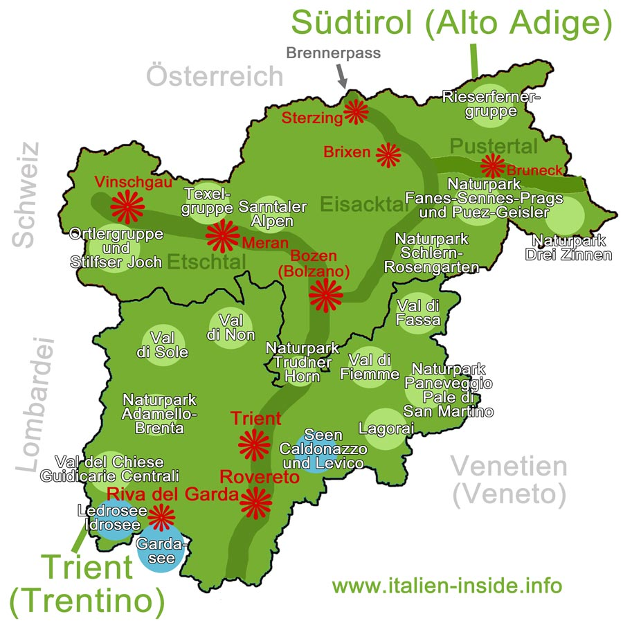 Map Of Trentino Alto Adige Sudtirol Worldofmaps Net Online Maps And Travel Information
