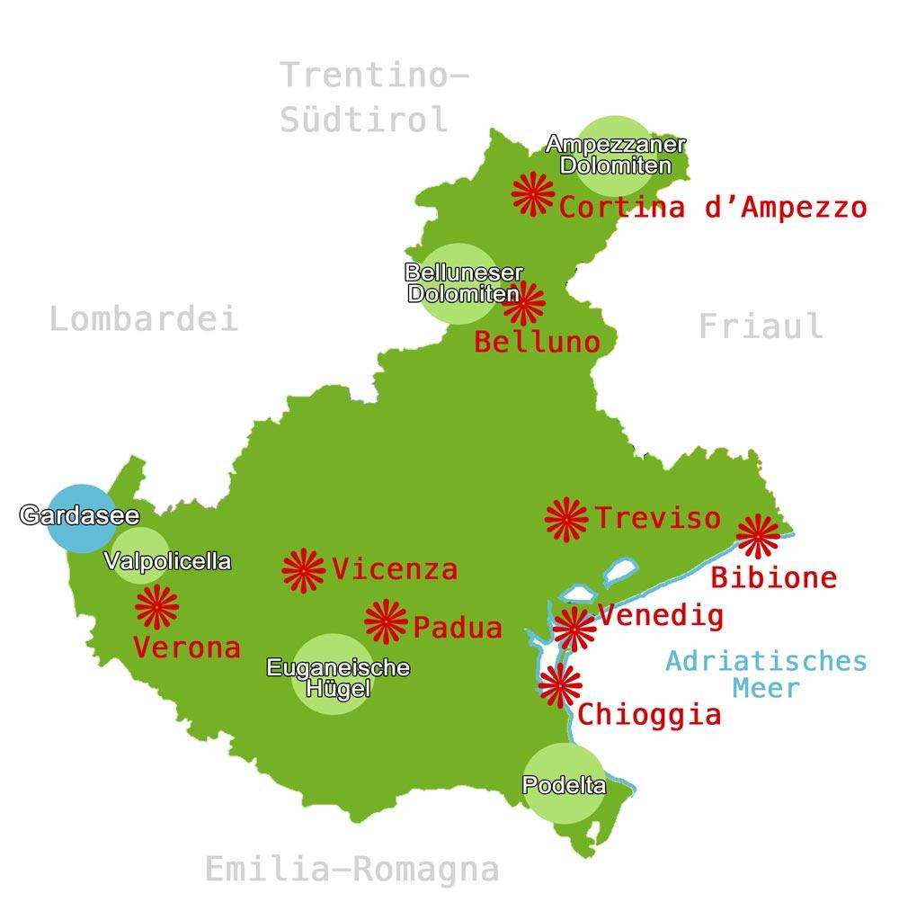 Karte Venetien Www Italien Inside Info