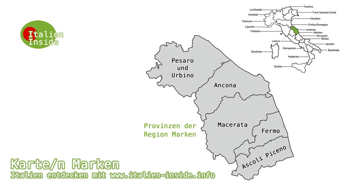 Karte Region Marken In Italien Www Italien Inside Info