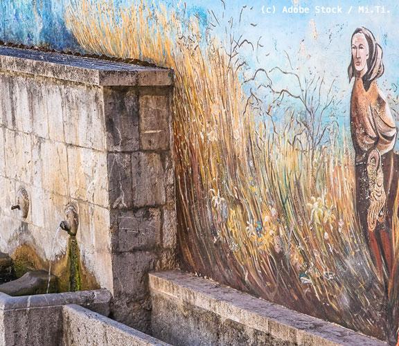 Satriano-di-Lucania-Brunnen-mit-Wandmalerei